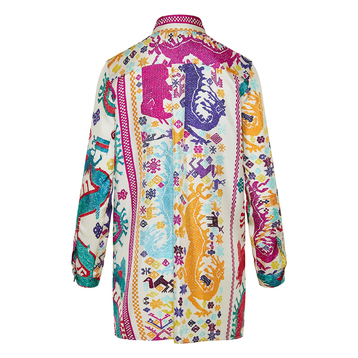 Embroidery-effect long printed shirt