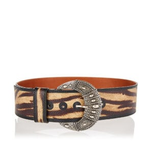 Printed wide leather belt