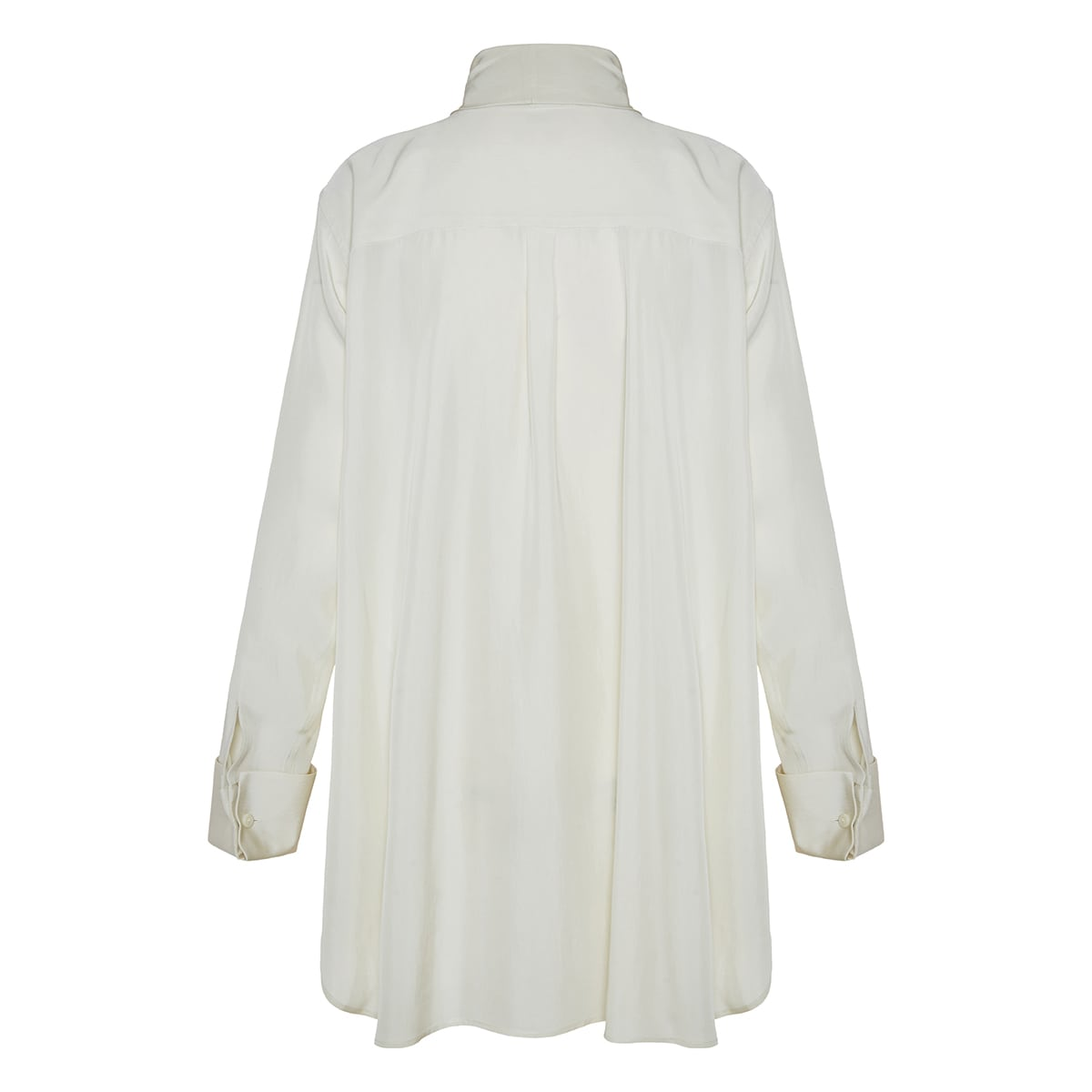 Anagram-scarf oversized silk shirt