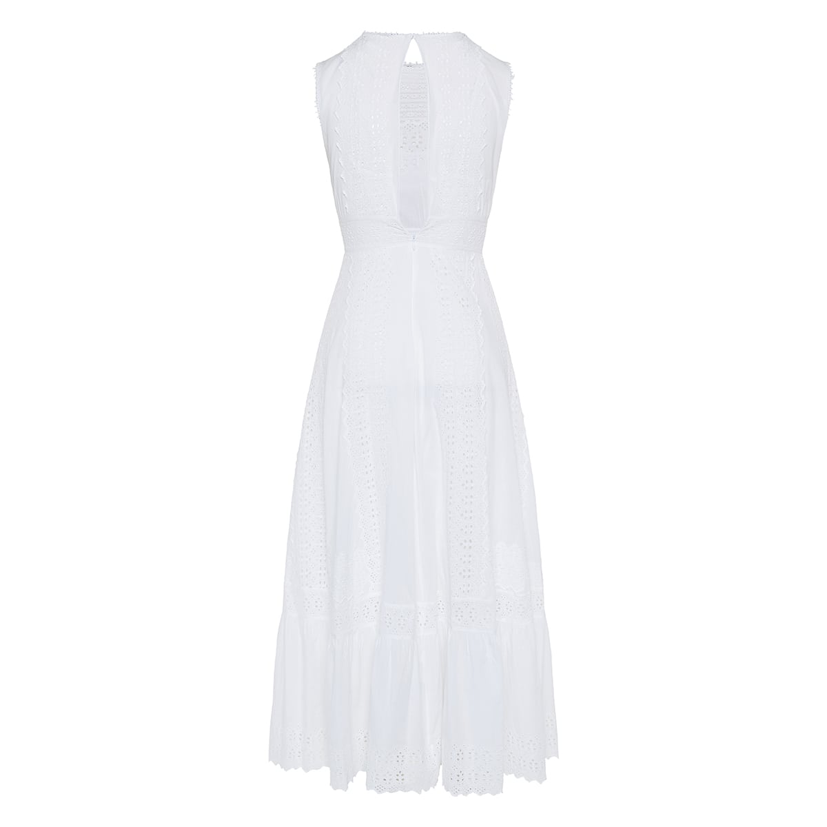 Broderie anglaise long flared dress