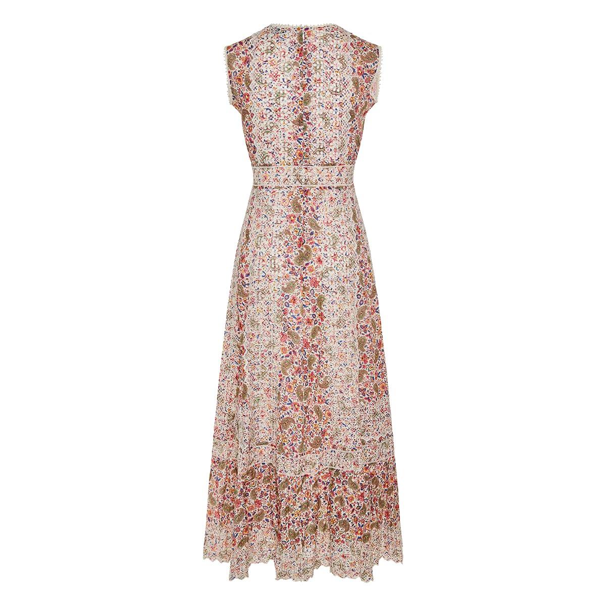 Lace-paneled long printed dress