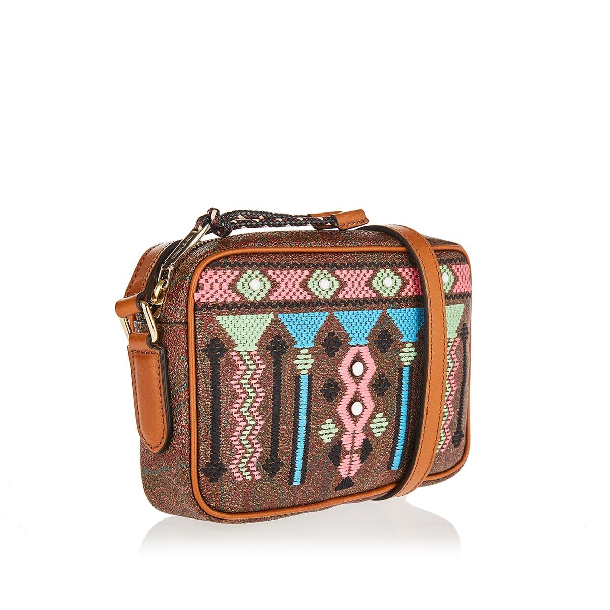 Embroidered paisley-print crossbody bag