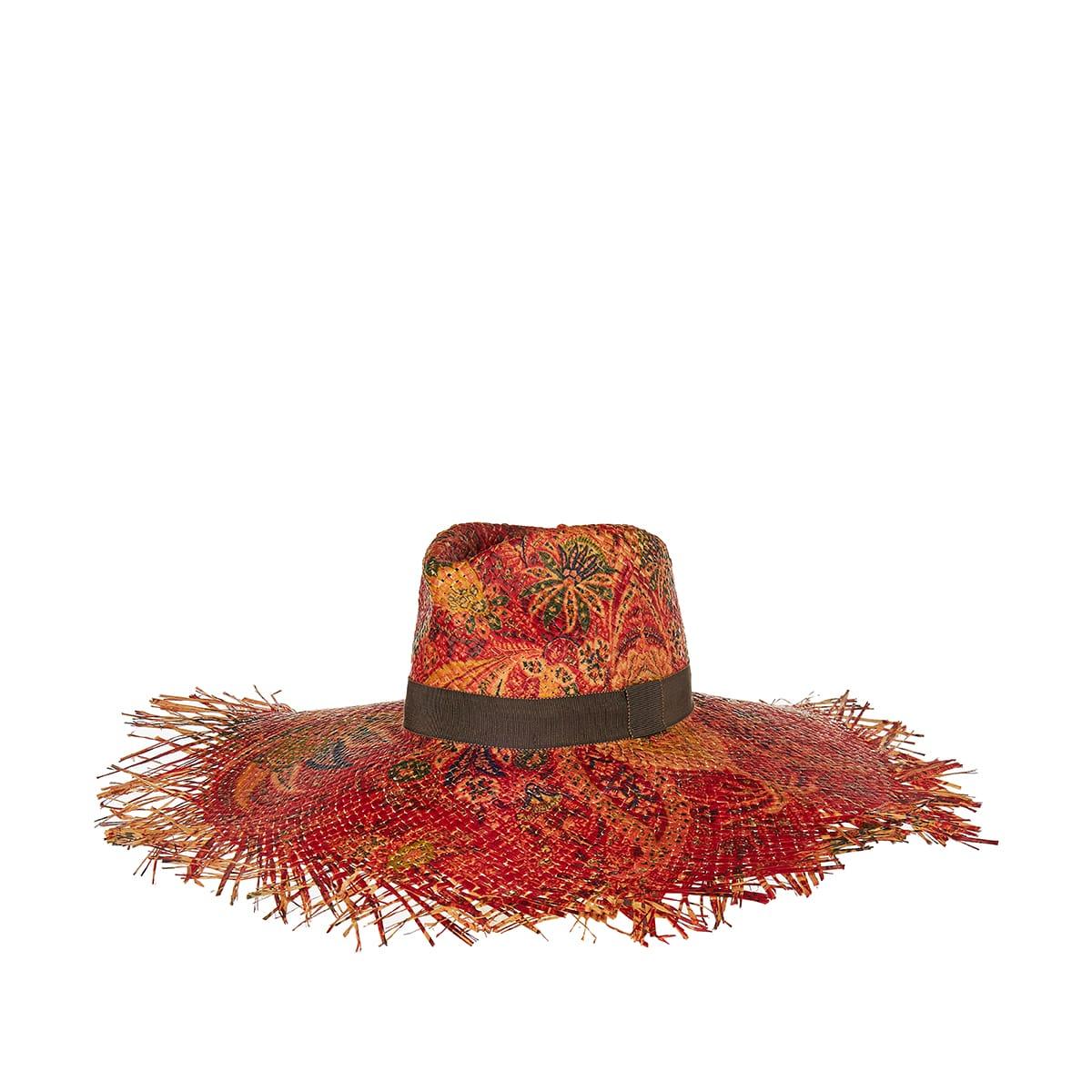 Printed raffia hat