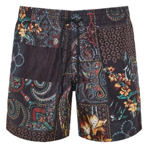 Patchwork-print swim shorts