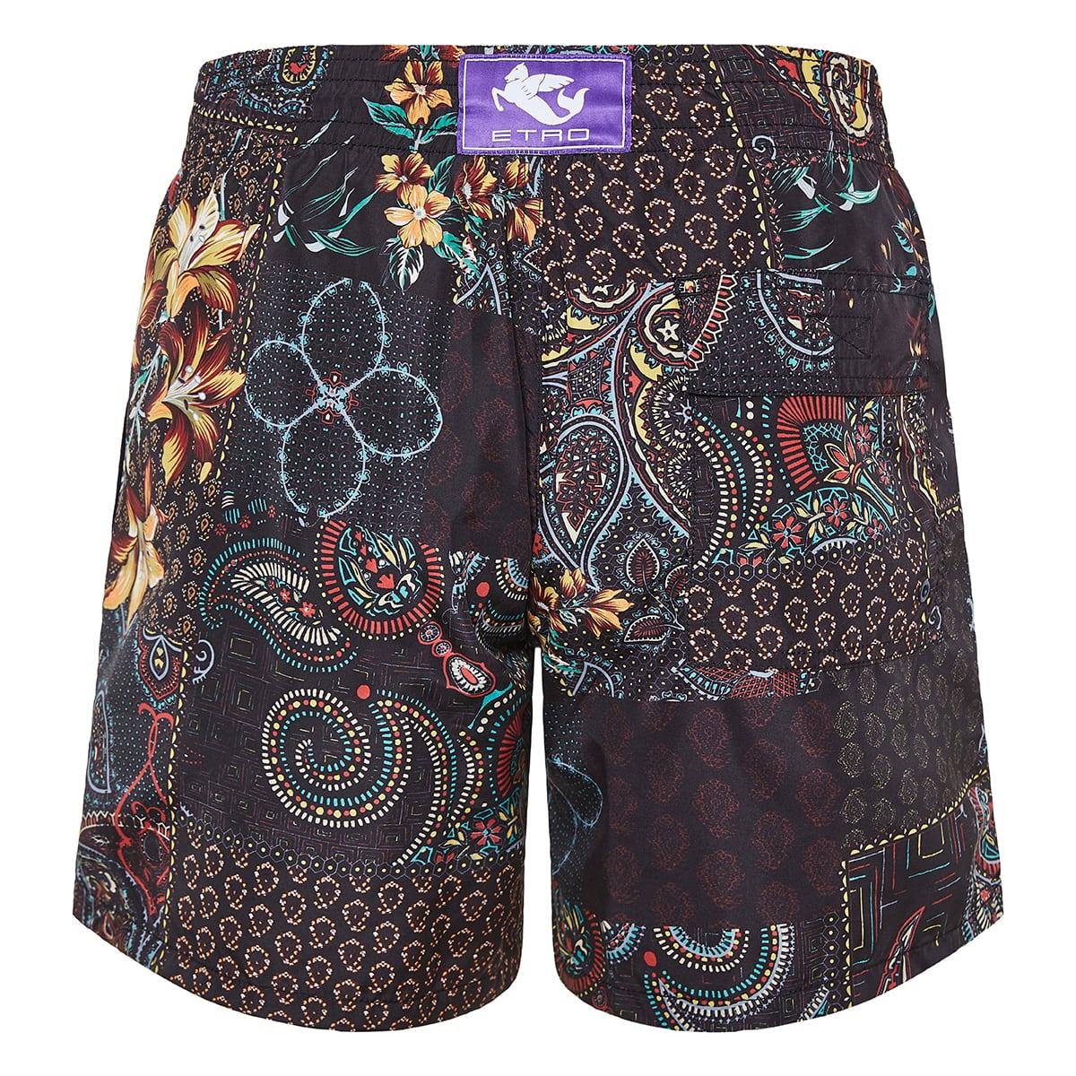 Patchwork-print swim shorts