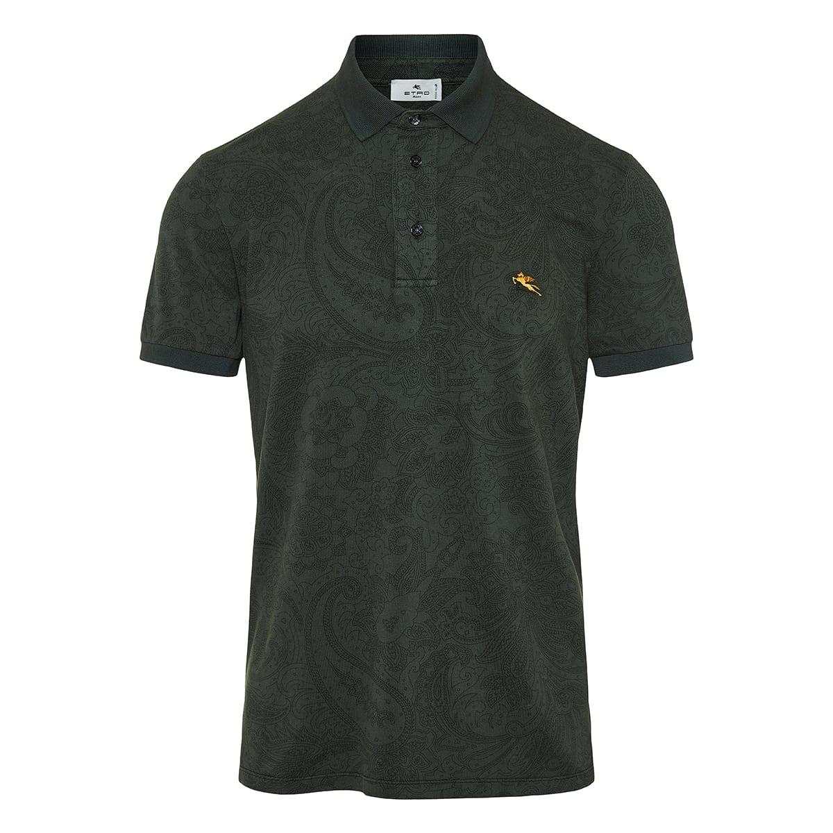 Paisley printed cotton polo shirt