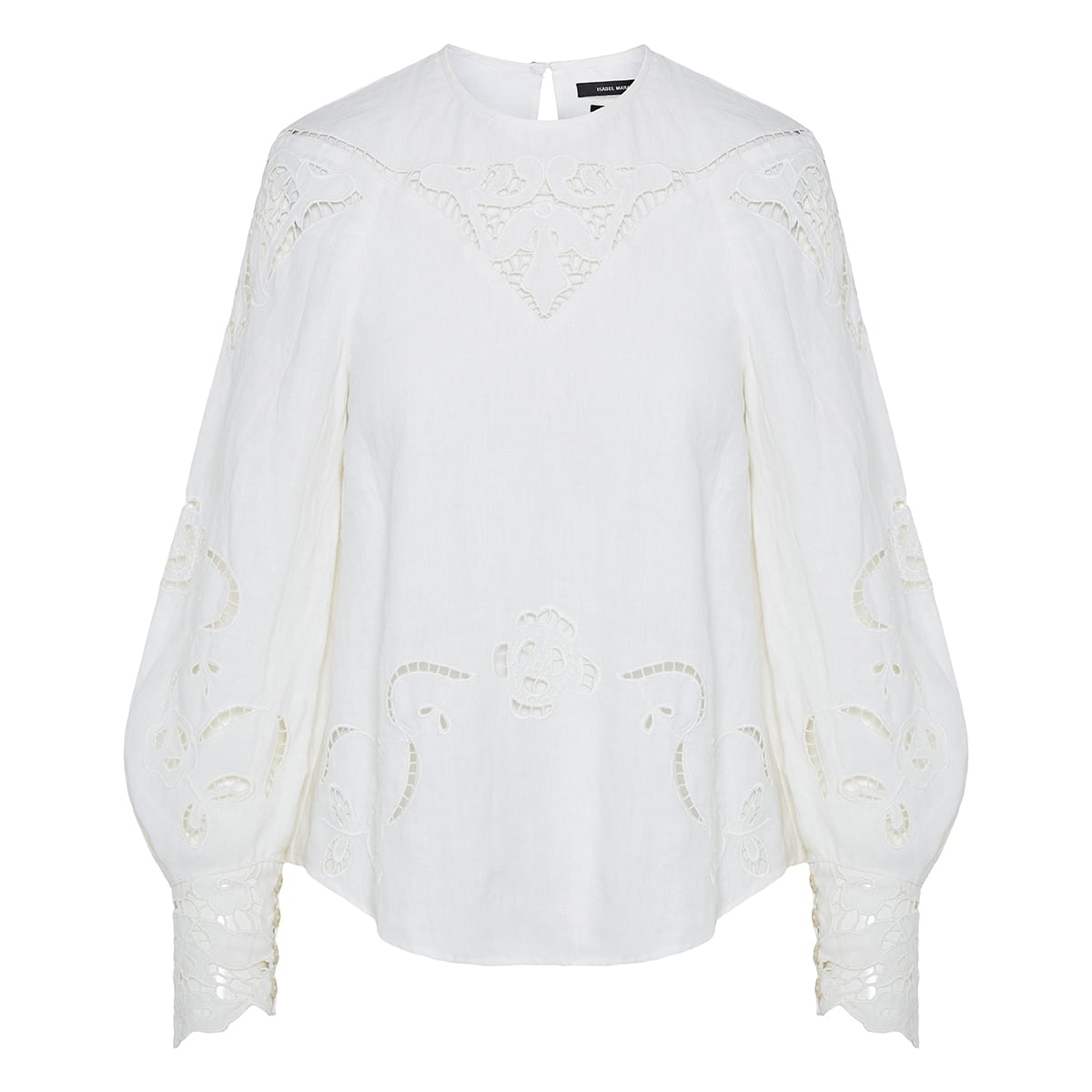 Emmett lace-detailed linen blouse