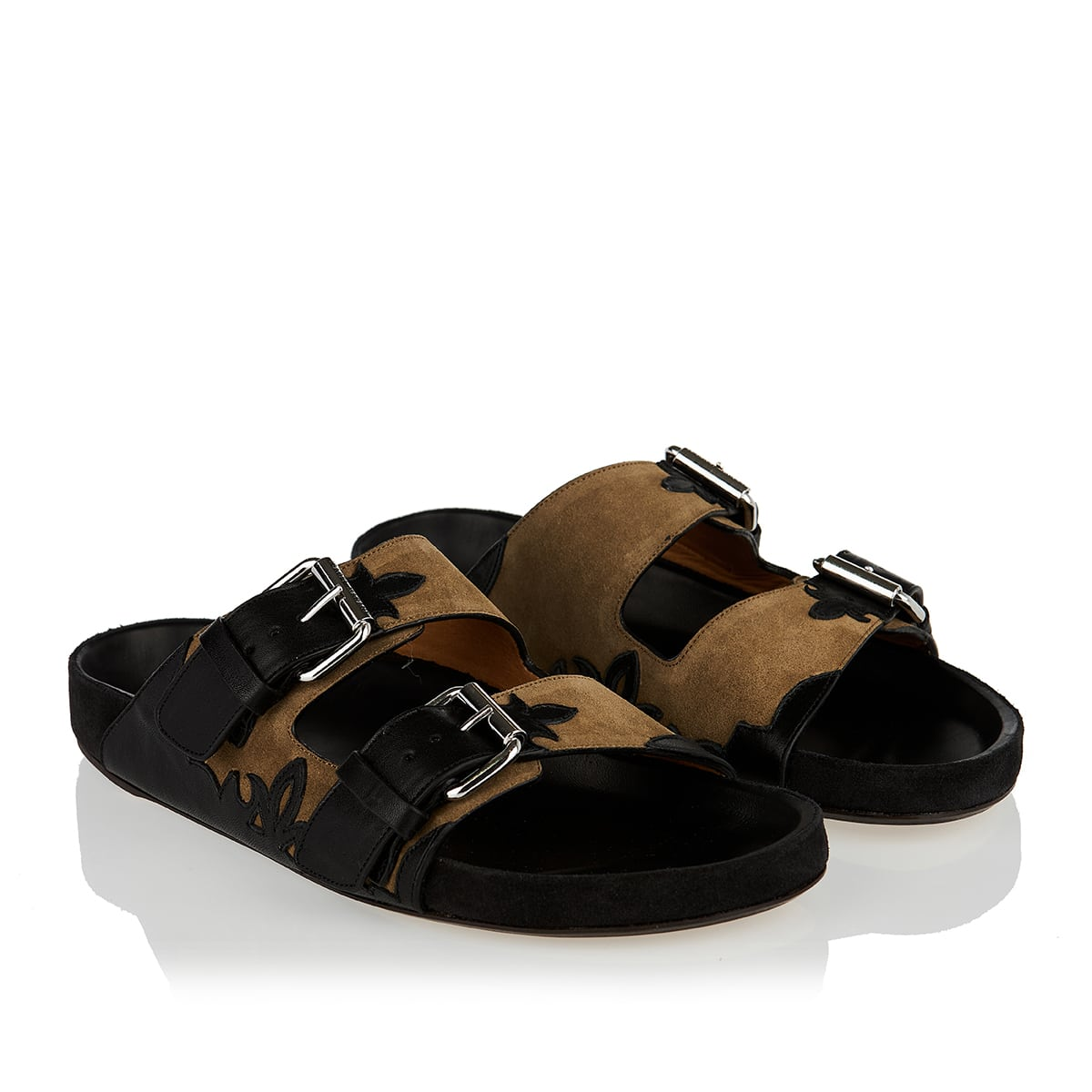 Lennyo suede and leather slides