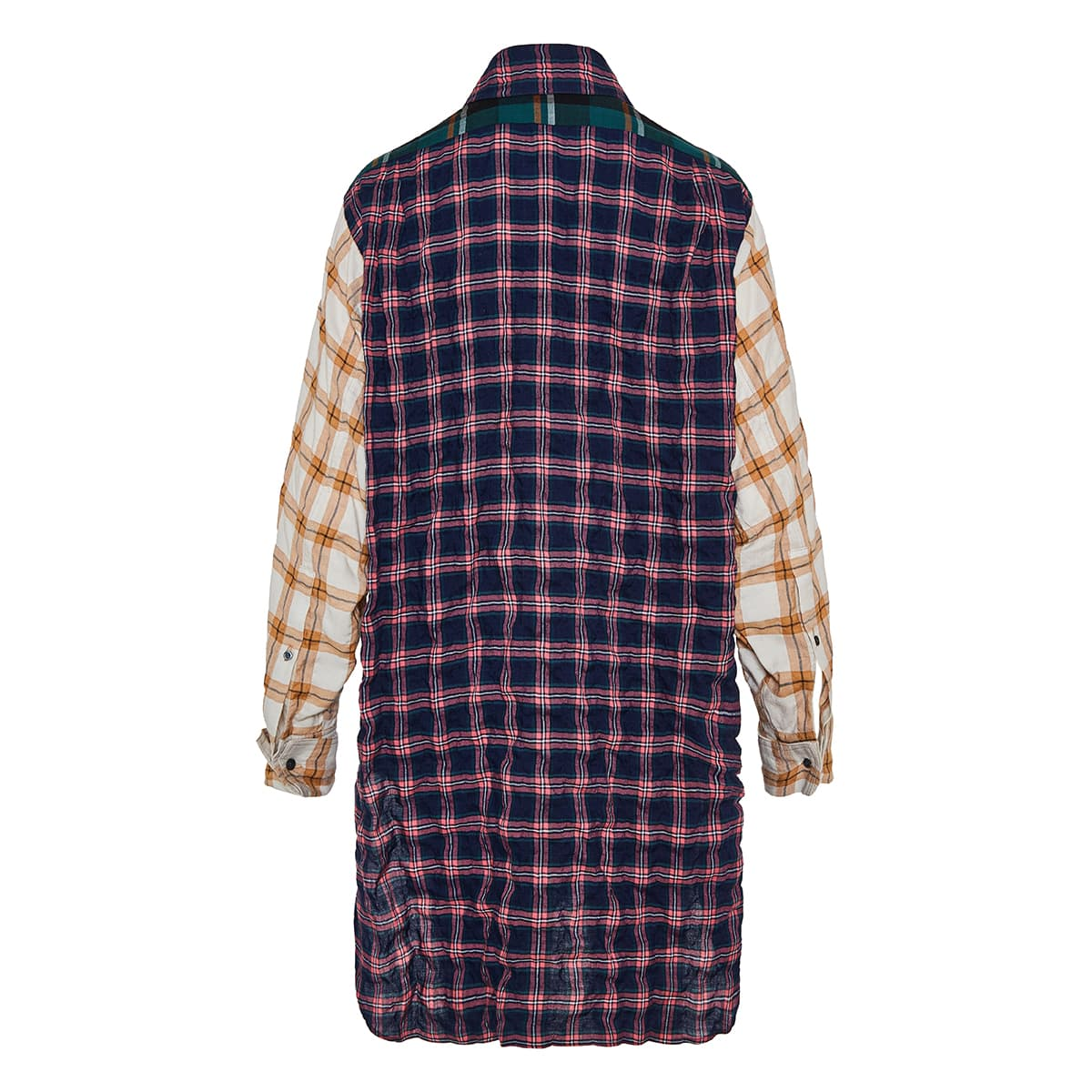 Oversized checked patchwork shirt