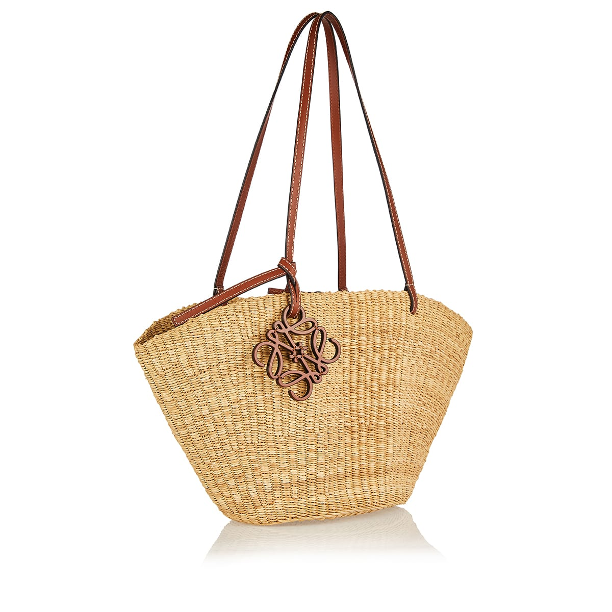 Shell small woven basket bag