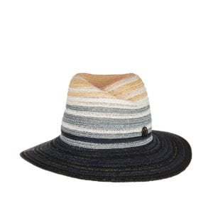Virginie striped woven fedora hat