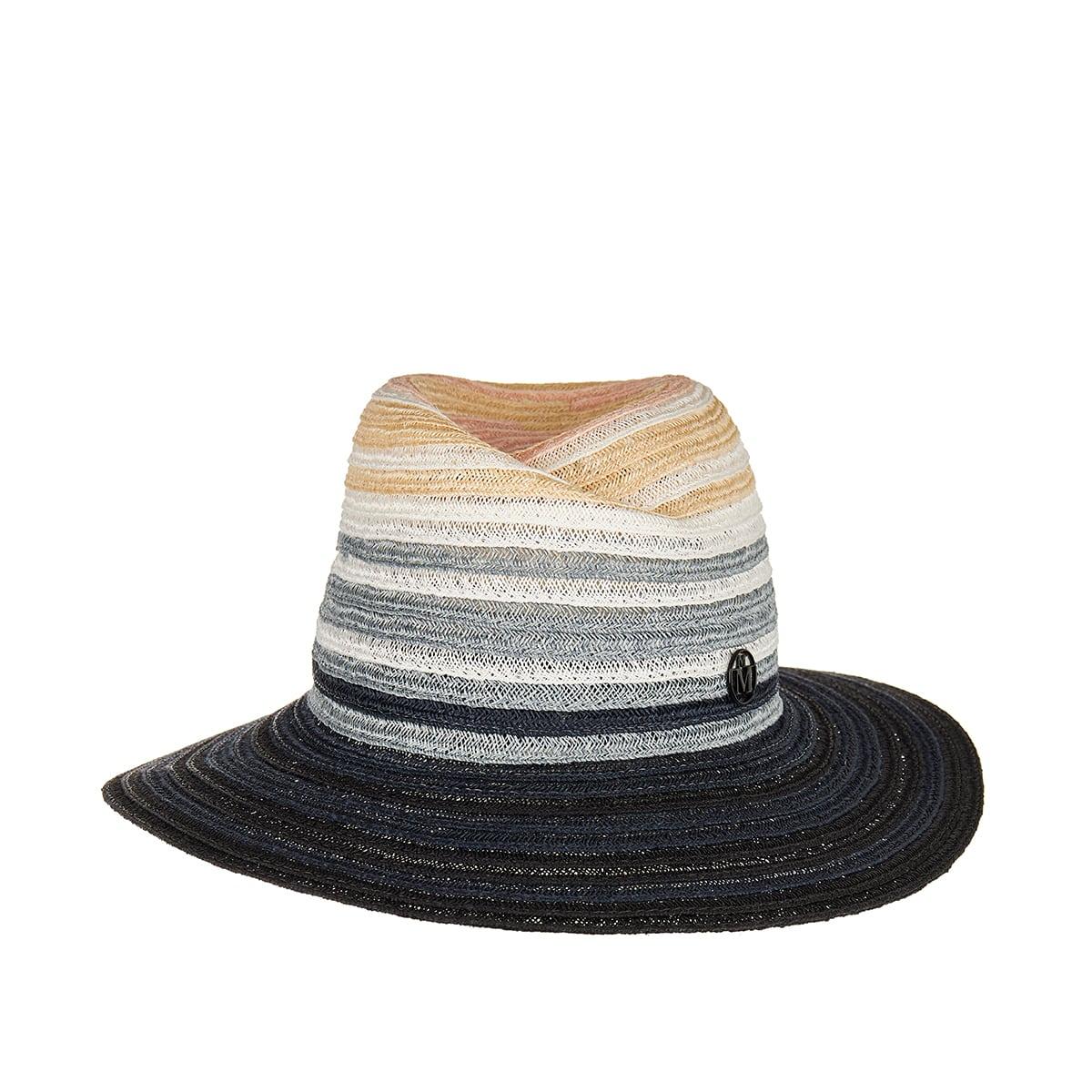 Virginie striped woven fedora hat