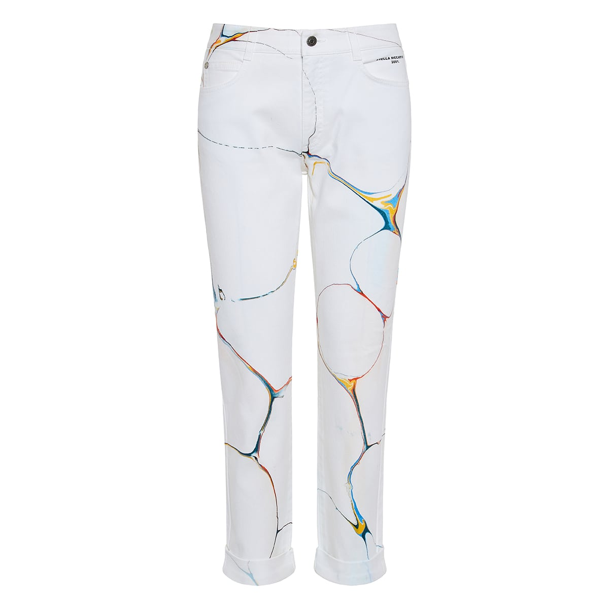 Printed cropped denim trousers