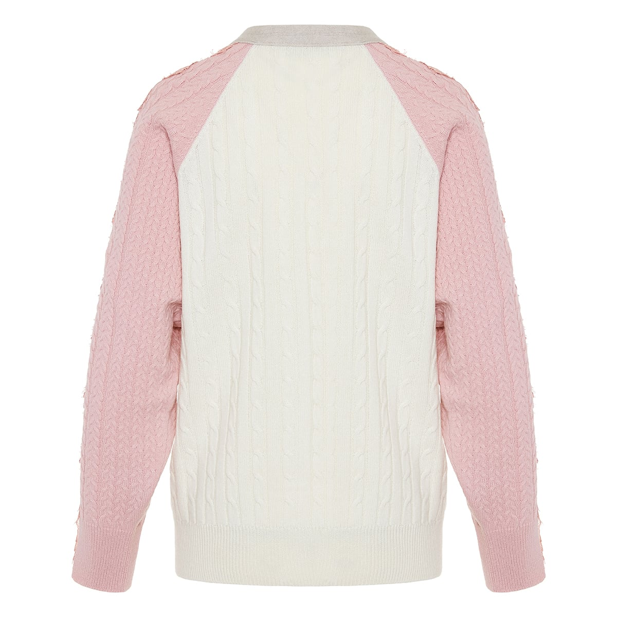 Lace-paneled cable knit cardigan