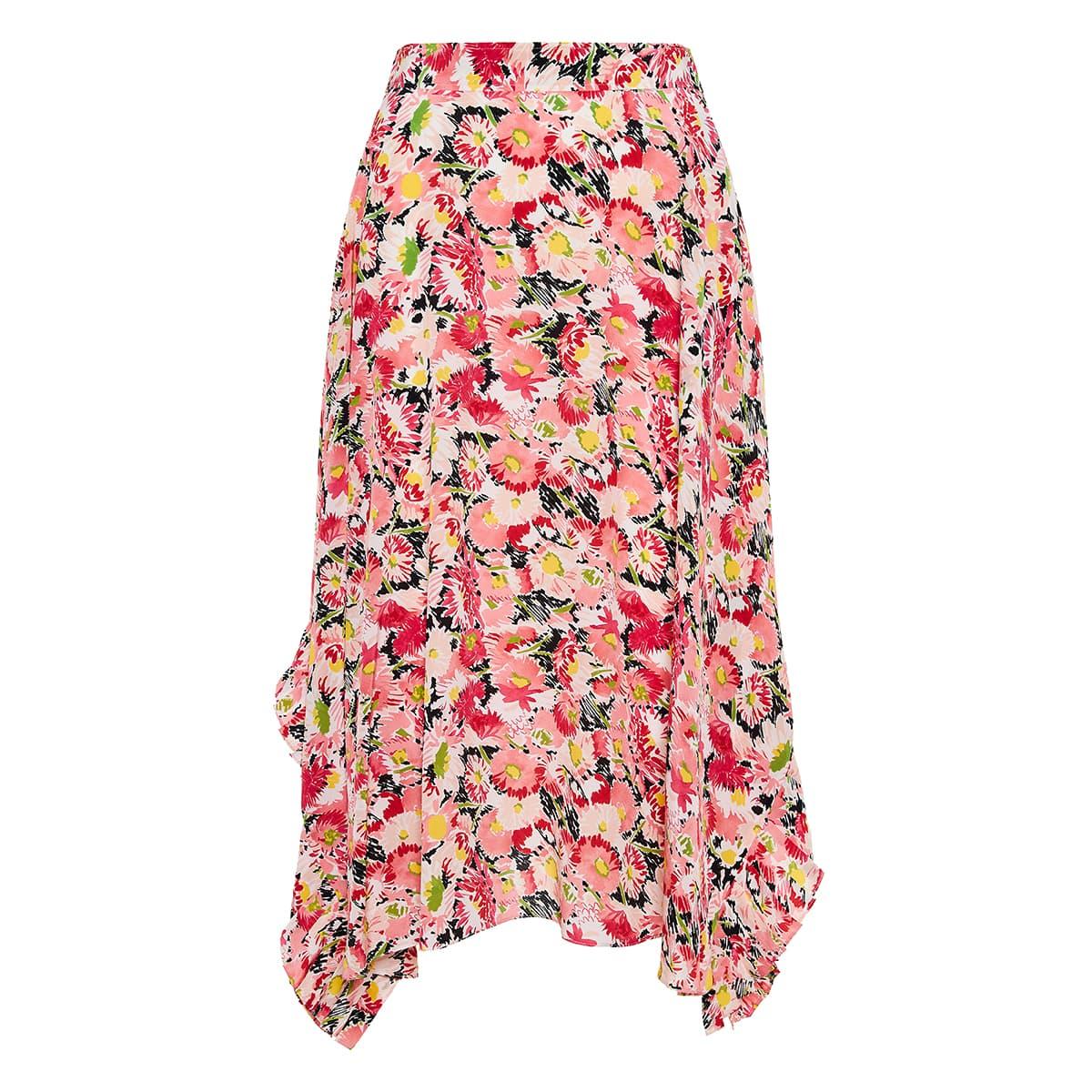 Ashlyn asymmetric floral skirt