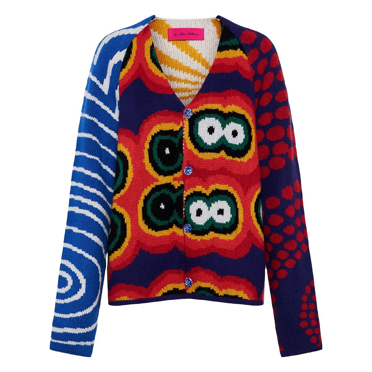 Thelma patchwork-print cashmere cardigan