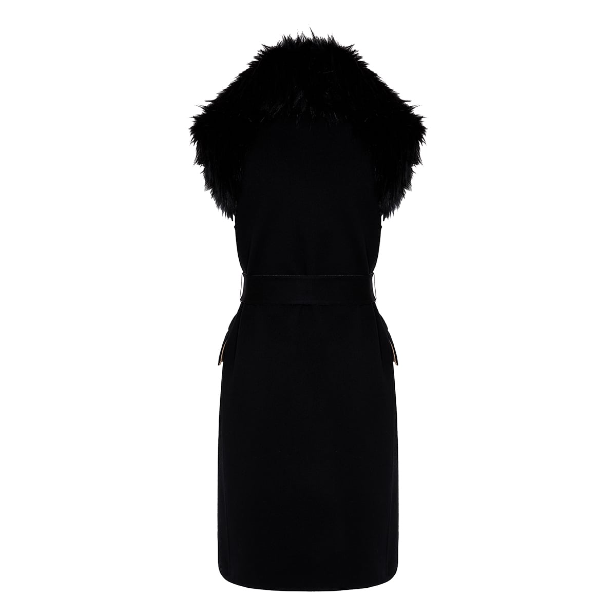 Fur-trimmed belted vest