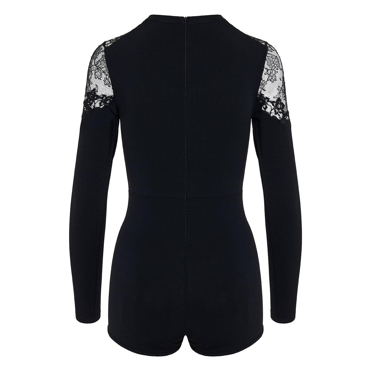 Lace-paneled playsuit