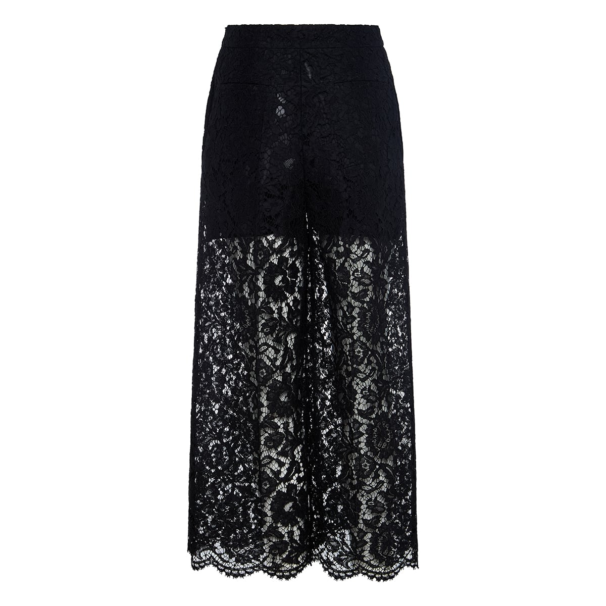 Wide-leg cropped lace trousers