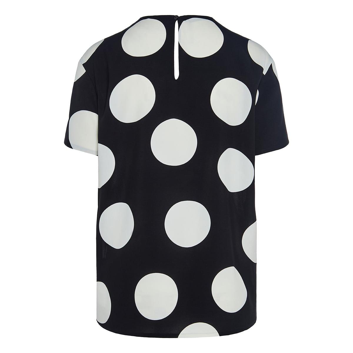 Polka-dot silk t-shirt