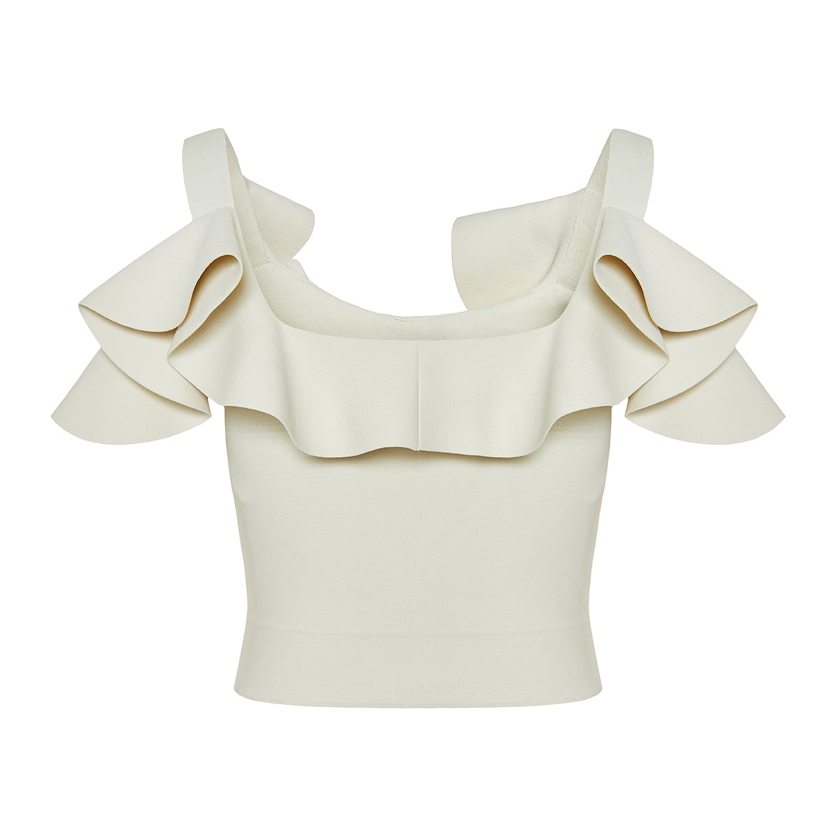 Ruffled knit cropped top