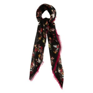 Botanical printed wool scarf
