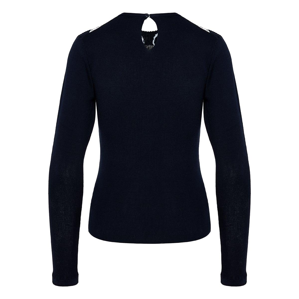 Lace-paneled ribbed sweater
