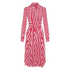 Bow-tie striped midi dress