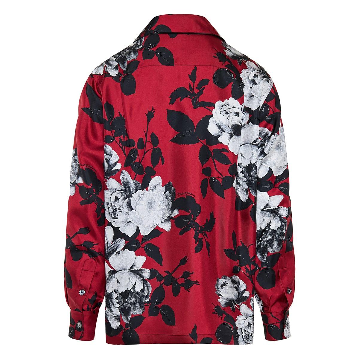 Floral silk pajama shirt