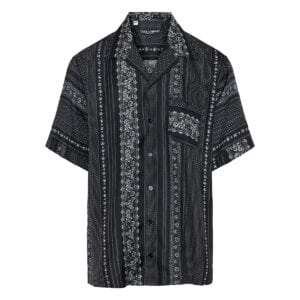 Short-sleeved printed silk shirt