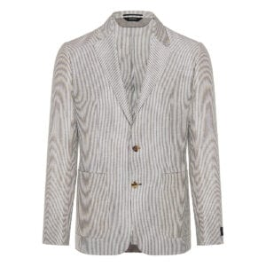 Single-breasted striped linen blazer