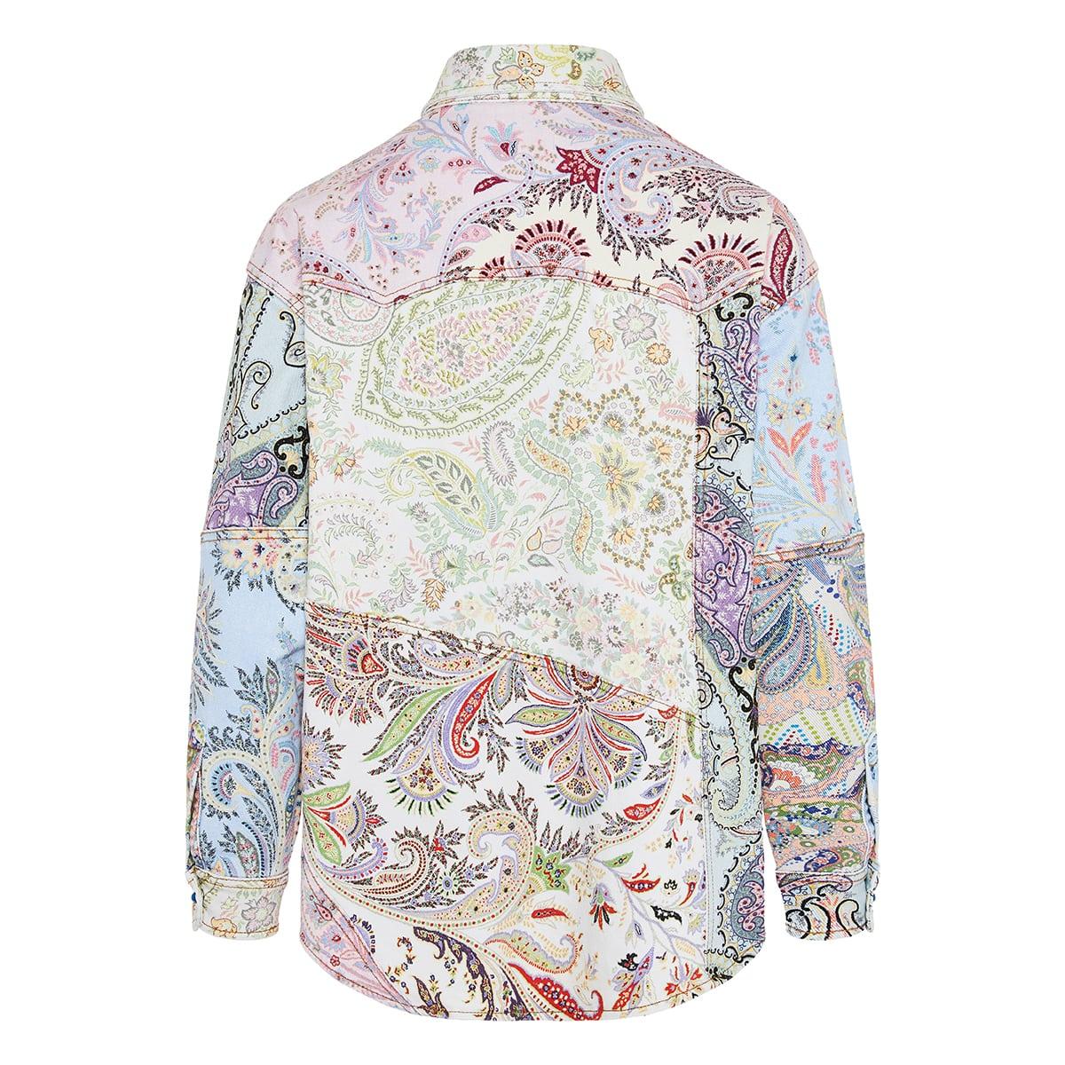 Paisley printed denim overshirt