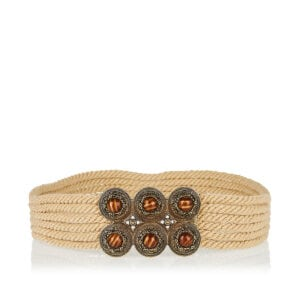 Jeweled-buckle cord belt