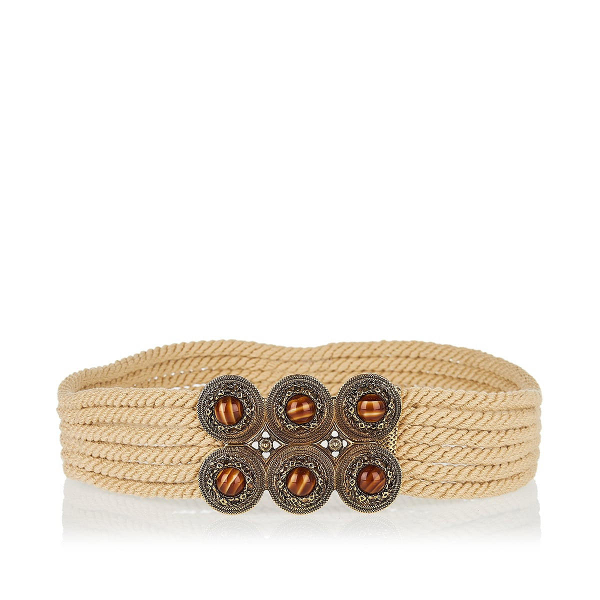 Jeweled-buckle cord belt