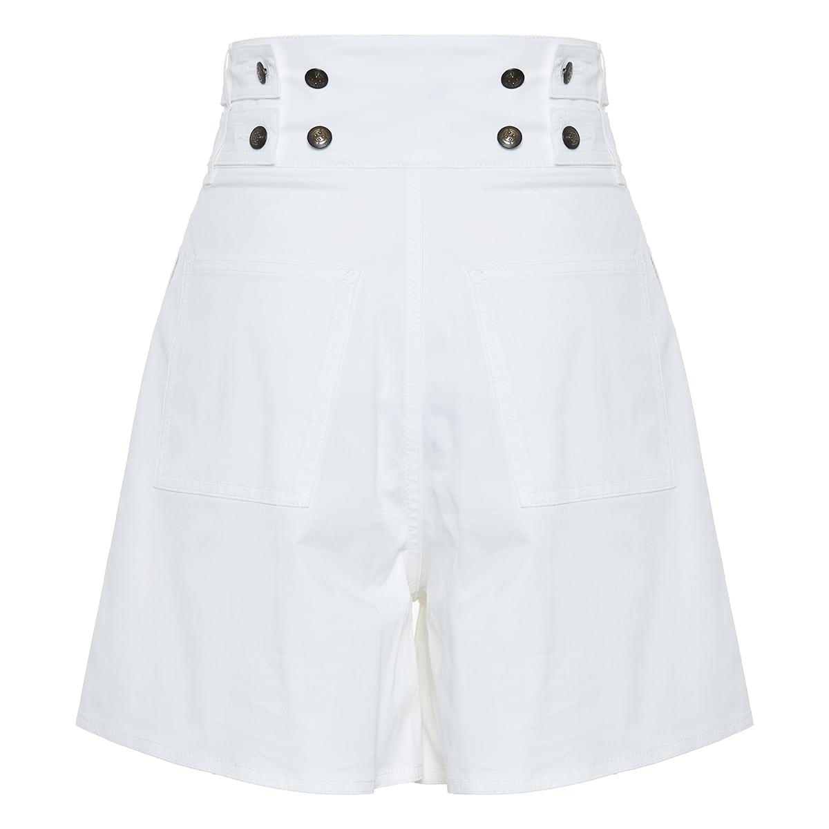 High-waist flared shorts