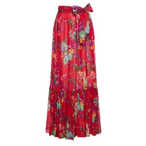 Floral long tiered skirt