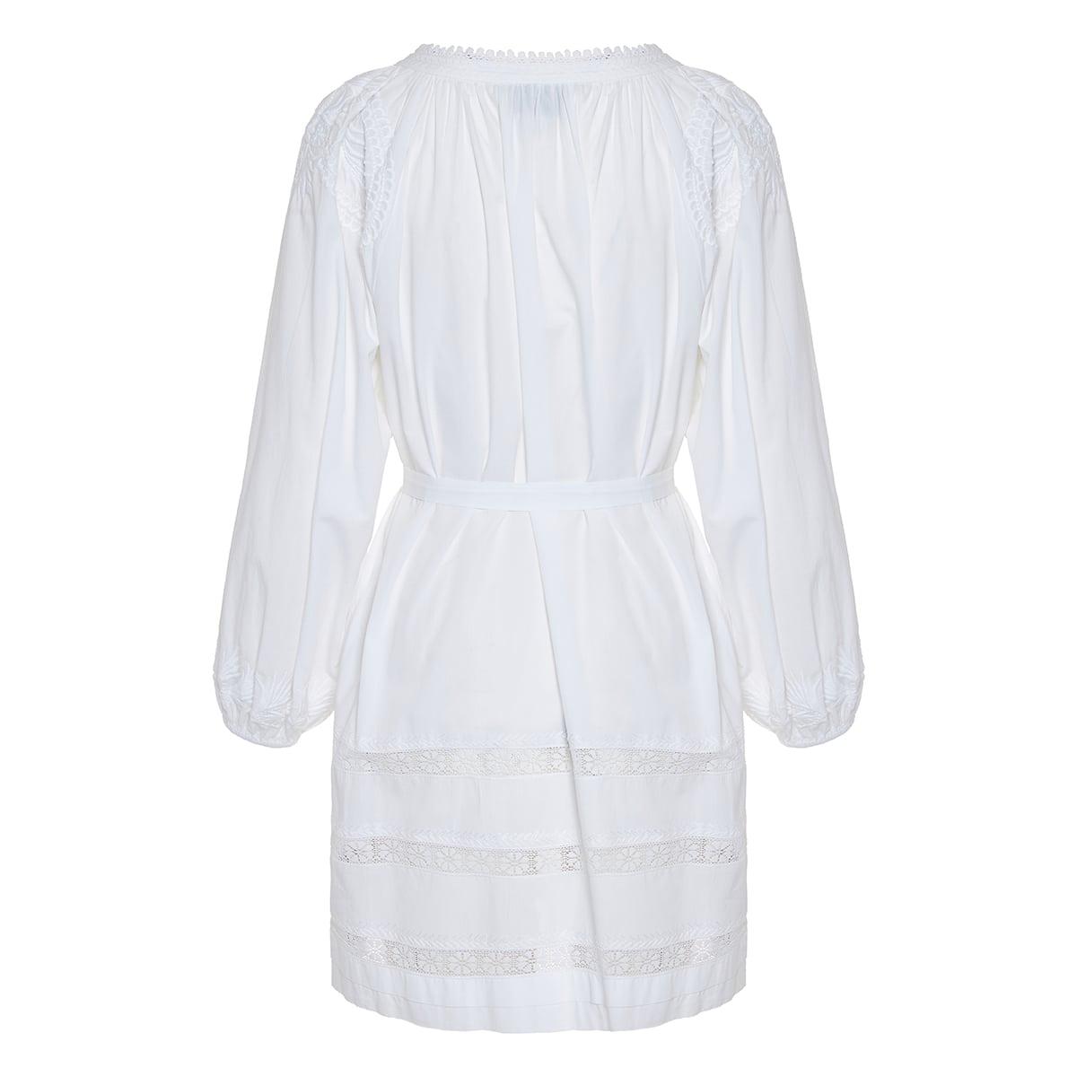 Balloon-sleeved emrboidered cotton dress