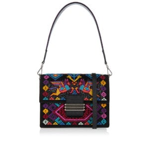 Rainbow bead embroidered shoulder bag