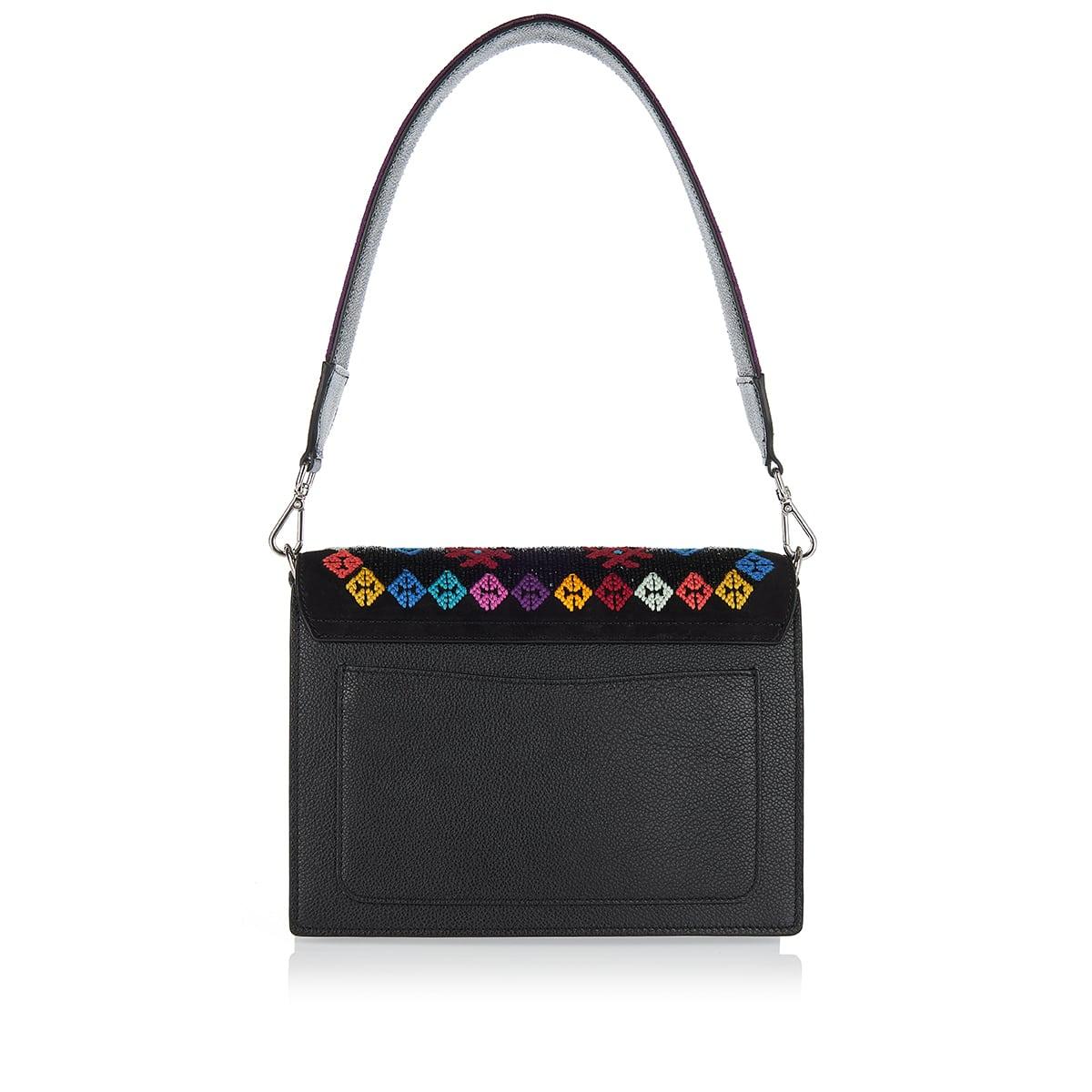 Rainbow bead embroidered shoulder bag