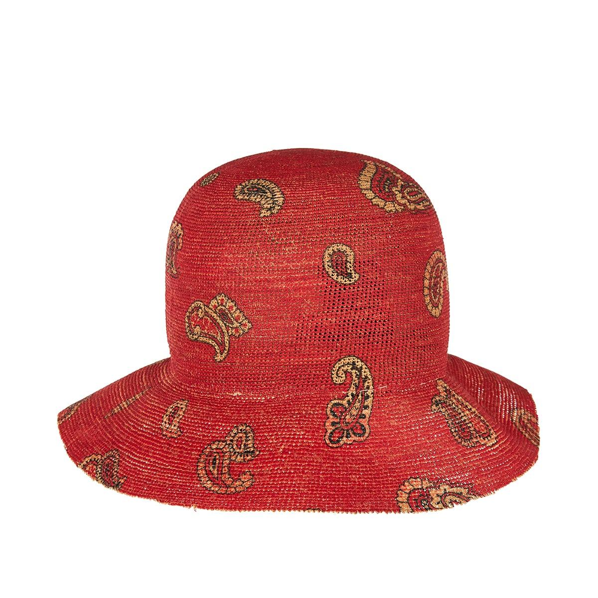 Paisley raffia bucket hat