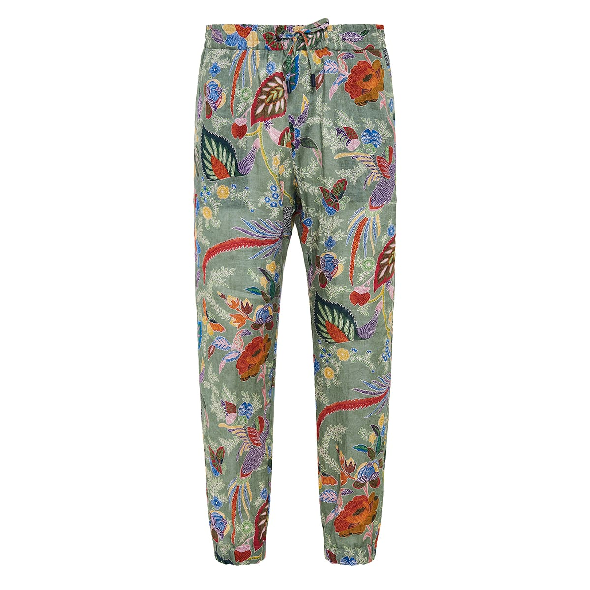 Printed linen trousers