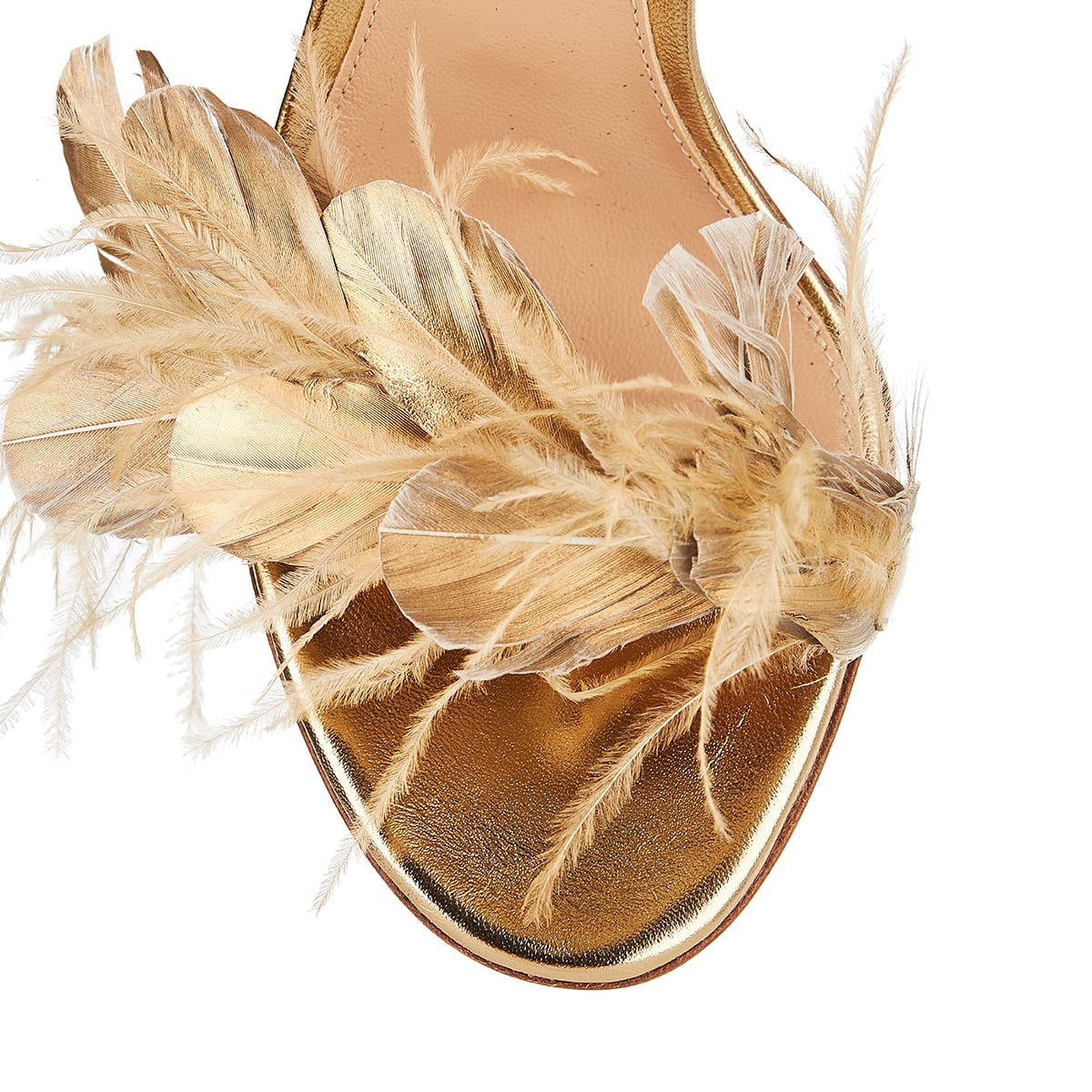Feather-embellished metallic sandals