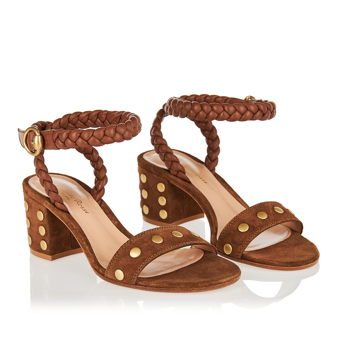 Studded suede and leather sandals