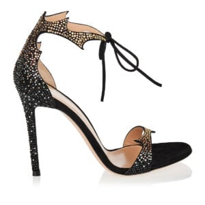 Crystal-embellished suede sandals