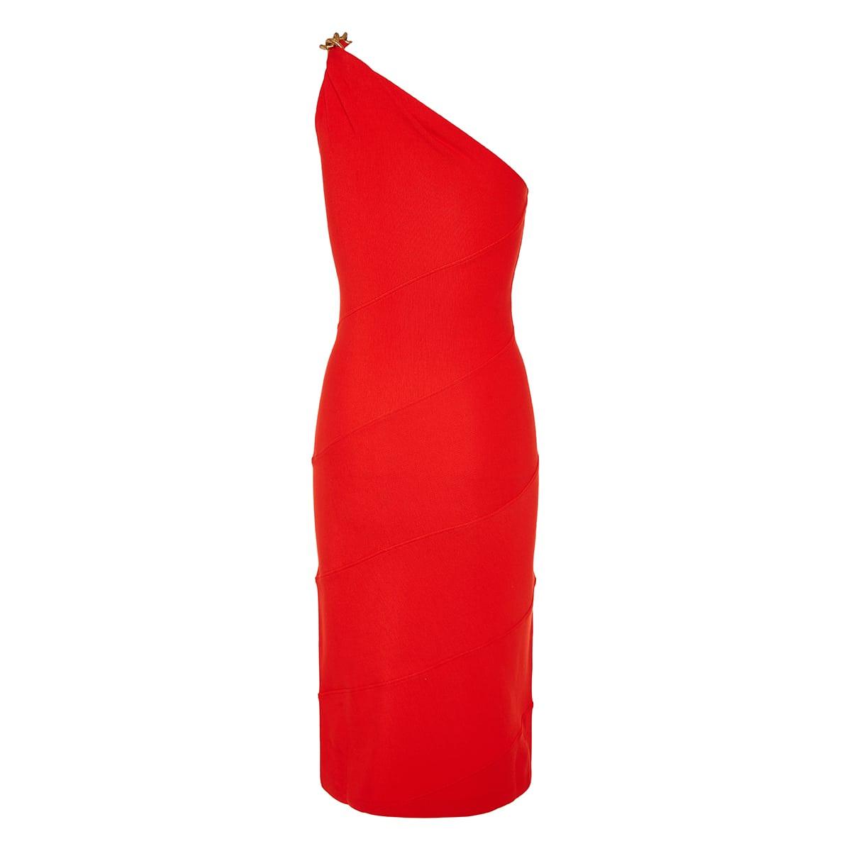 Chain-embellished one-shoulder midi dress