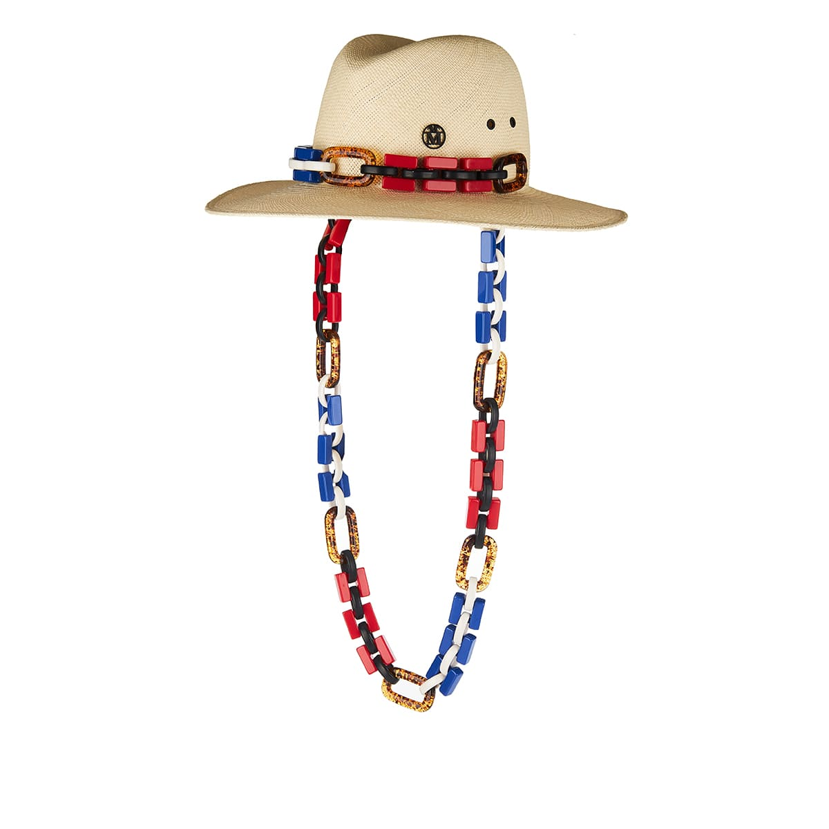 Zango chain-embellished raffia hat
