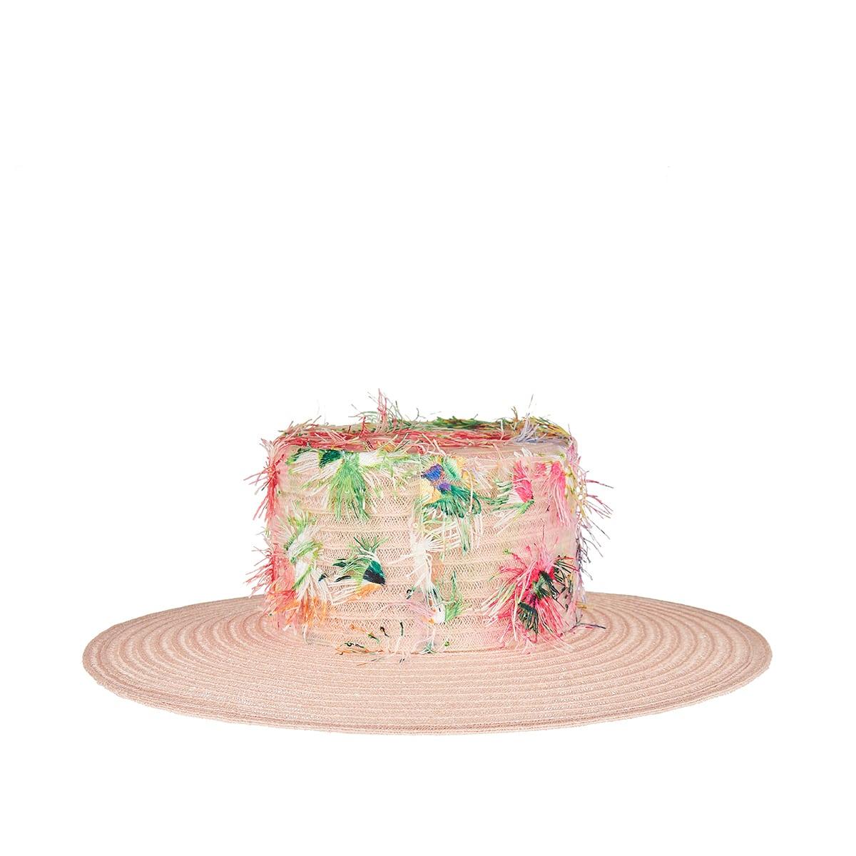 Lana flower-embellished canotier hat