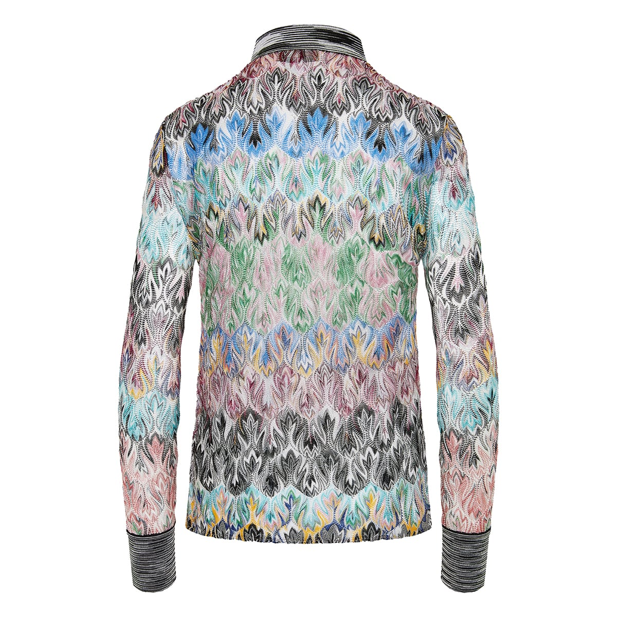 Abstract-pattern knitted shirt