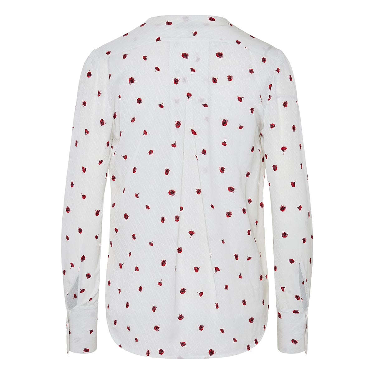 Rose-print draped blouse