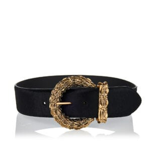 Jeweled-buckle wide belt